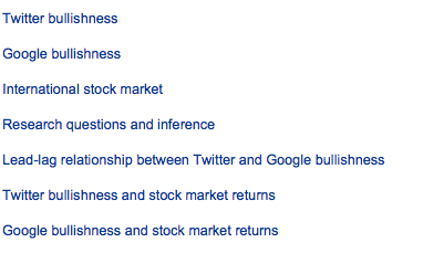Table of Content - Twitter and Google bullishness effect in markets, study sponsored by ECB