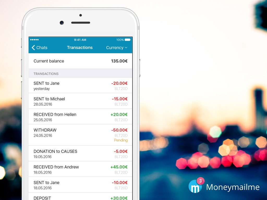 Moneymailme app send and receive money transactions dashboard